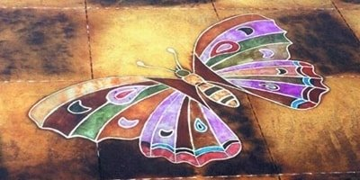 Engraved multicolored butterfly created with an artful eye.