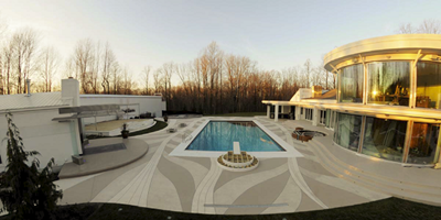 Glamorous pool deck with ribbons of white running through gray backdrop.