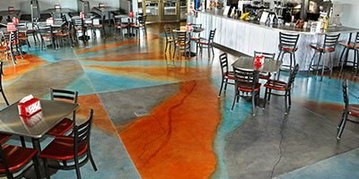 This restaurant floor showcases both the durability of the product and the wide range of colors available. The compass below displays the colorful hues in more muted tones.