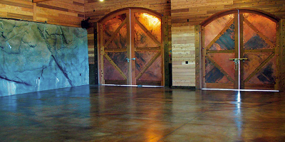 Concrete floor that has been colored using reactive stain.