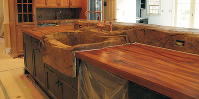 Concrete countertops that take the wood look straight from the forest.